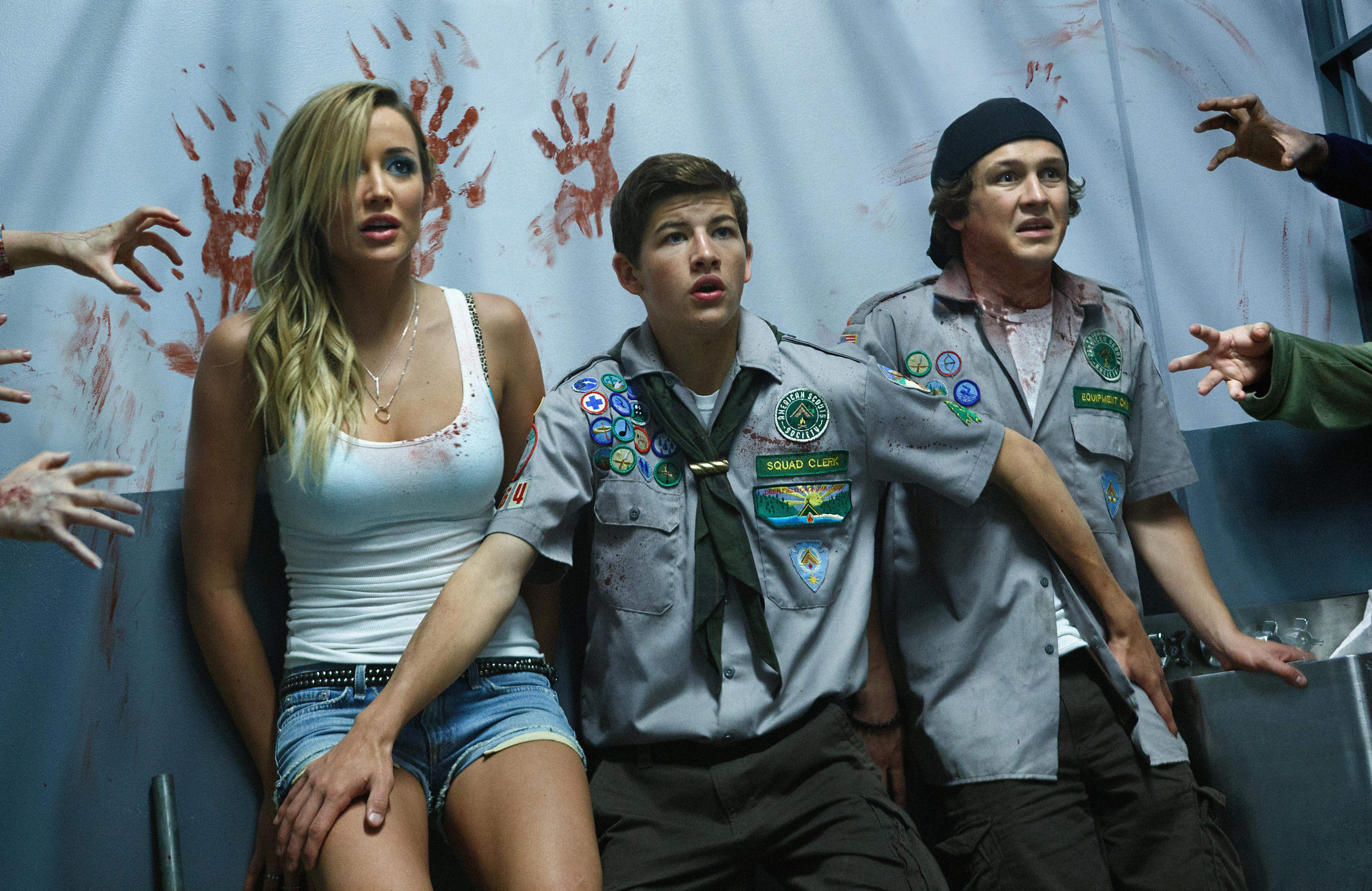 Sarah Dumont, Tye Sheridan and Logan Miller in Scouts Guide To The Zombie Apocalypse