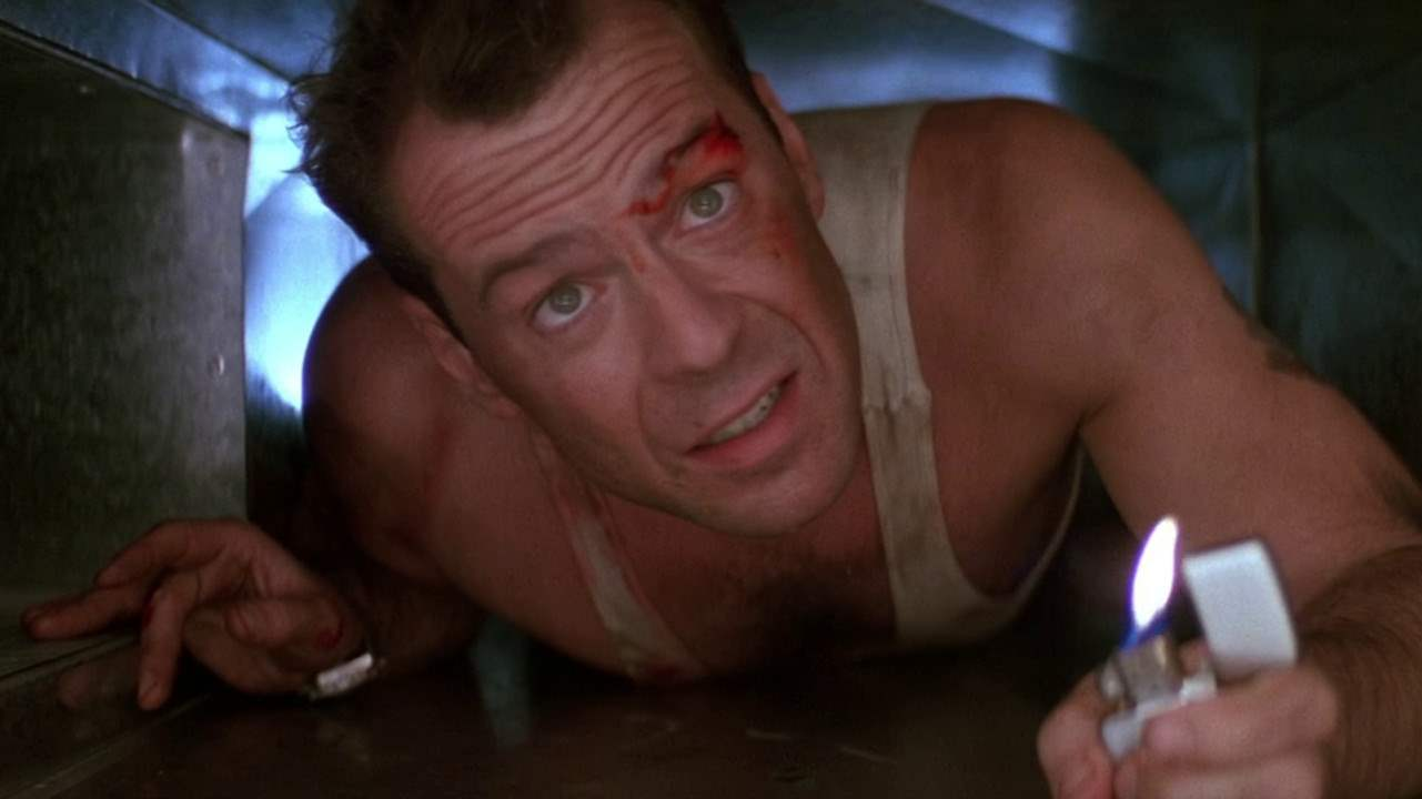 Hero John McClane in Die Hard is out of his element, but still kicks butt.