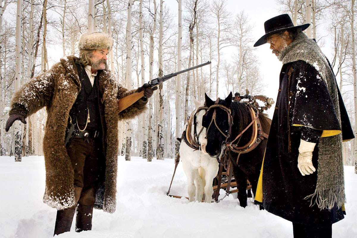 Kurt Russell and Samuel L. Jackson in The Hateful Eight