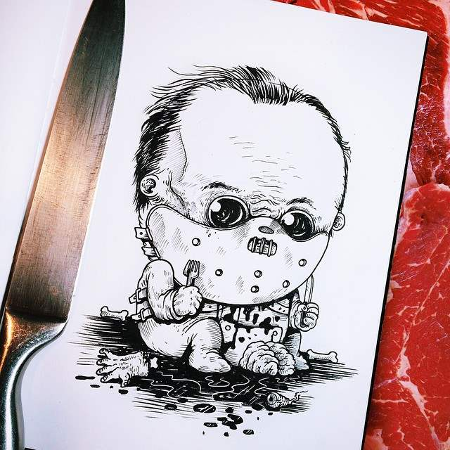 Hannibal Lecter baby from the Baby Terror illustrations by Alex Solis.