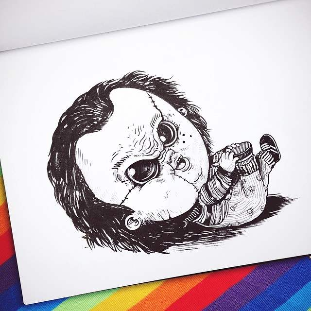 Baby Chucky by Alex Solis as apart of his Baby Terror illustrations series.