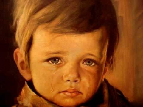 The crying by painting by Italian artist Giovanni Bragolin.