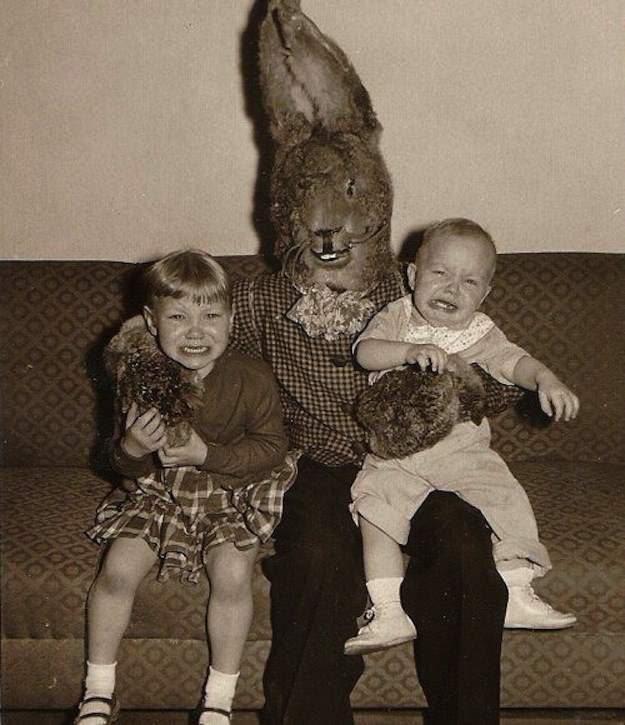 Terrifying evil easter bunny family photos.
