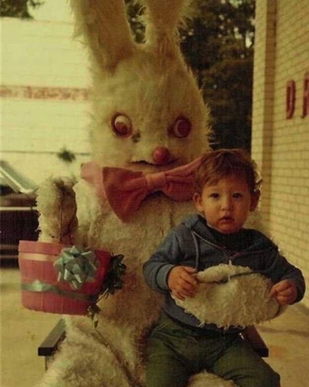 Award and creepy easter bunny family photos.