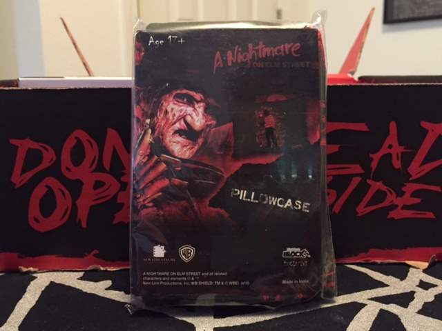 A Nightmare on Elm Street pillowcase in the June 2016 Horror Block