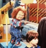 Chucky, Andy, and Kyle in the Good Guys factory in Child's Play 2