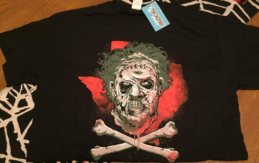 A Leatherface t-shirt in the August 2016 Horror Block