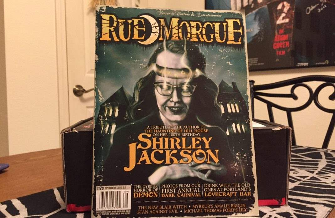 The September 2016 issue of Rue Morgue magazine in the August 2016 Horror Block
