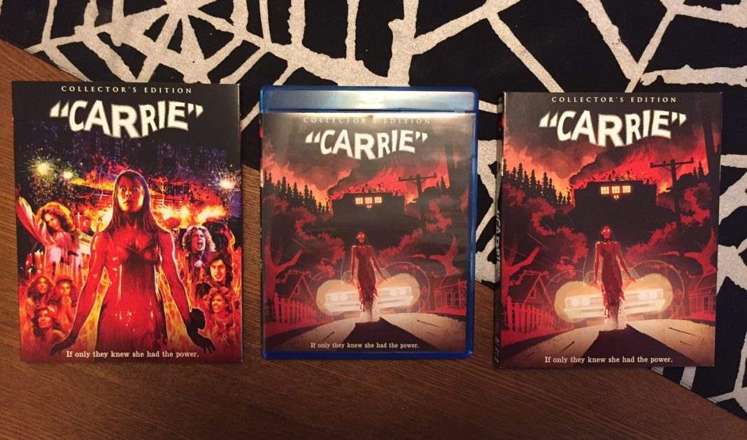 The two slipcovers with new artwork for the deluxe edition of Carrie from Scream Factory