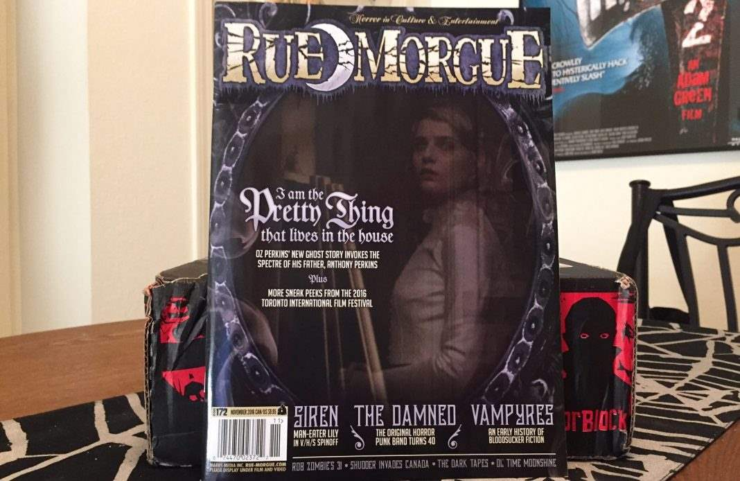 The November 2016 issue of Rue Morgue magazine in the October 2016 Horror Block