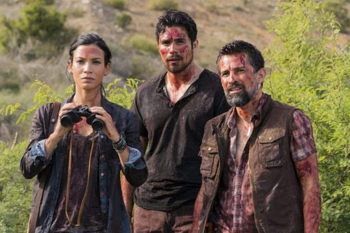 Danay Garcia as Luciana observes from a distance with her fellow survivors in 'Fear the Walking Dead'