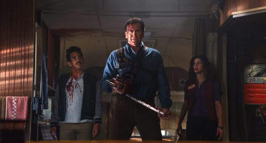 Pablo and Kelly witness the return of the king, Ash Williams, in Ash vs Evil Dead.