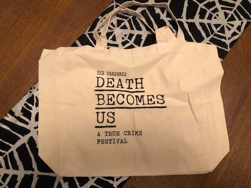 Death Beomes Us tote bag in February 2019 Creepy Crate