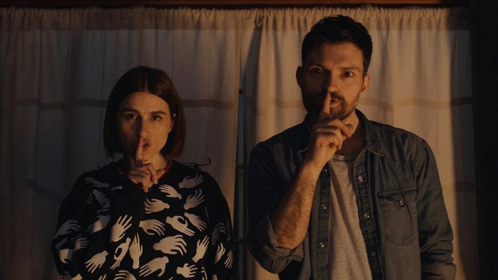 Aya Cash and Josh Ruben from Scare Me