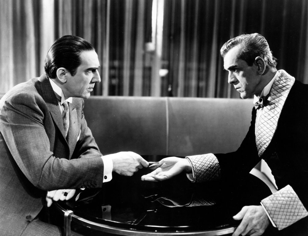 Lugosi and Karloff sitting across from each other