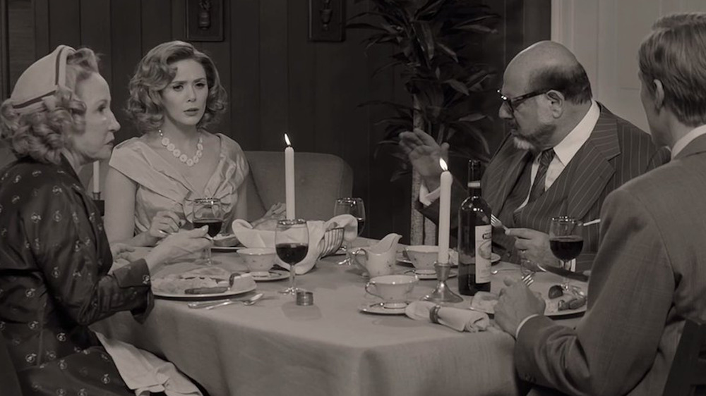 Wanda, Vision, Arthur, and his wife at dinner