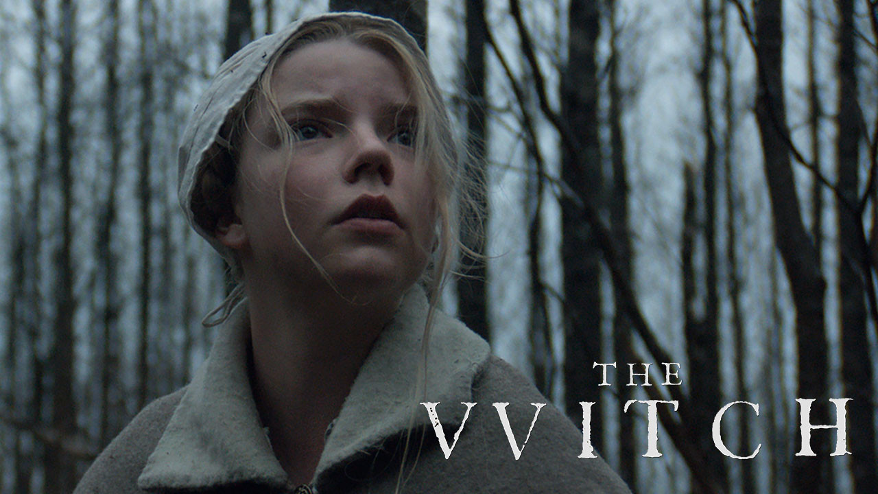 """Top Five Horror Movies alt="""" The Witch movie poster, a pale skinned girl in puritan clothing stares at something in the distance, beside her the movie title appears"""""""